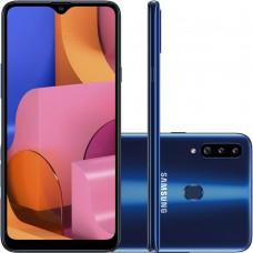 """Celular Samsung Galaxy A20s Azul 32GB, Câmera Tripla Traseira, Selfie de 8MP, Tela Infinita de 6.5"""", Leitor de Digital, Octa Core e Android 9.0"""